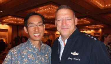 Rev. Joshua Hong with Hawaii Airforce commander